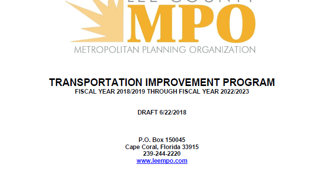 PUBLIC COMMENT AND REVIEW PERIOD OPEN FOR DRAFT TRANSPORTATION IMPROVEMENT PROGRAM