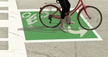 Check Out the Innovative New Bicycle Treatment at Daniels/Treeline Intersection!